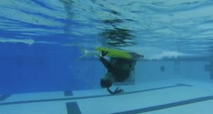 underwater view of kayak roll