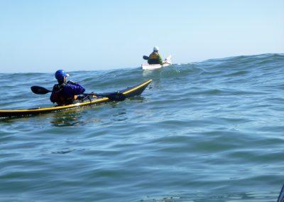 2 kayaks on a big swell matanzas inlet